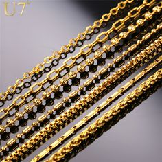 U7 New Fashion Necklace Chain Men Women Jewelry Gold Plated Stainless Steel Chains For Pendant Wholesale N401