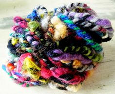 Navajo Plied chunky art yarn with handspun uncarded locks