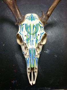 PINSTRIPED DEER SKULL. YES I WILL PAINT ON ANYTHING.