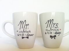 Set of Matching Mr and Mrs Mugs - Perfect Wedding Gift, Hand Drawn on Etsy, £10.33                                         write this on their glasses     write this on their glasses