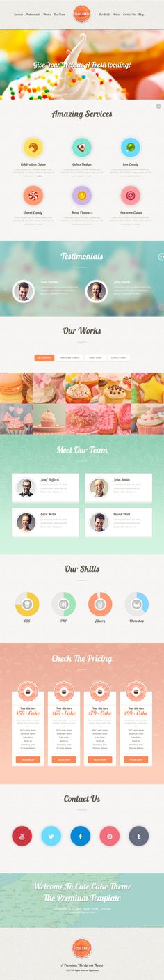 Cute #Cake is a Premium One Page #WordPress Theme. It's unique & flexible. The theme is ideal for #bakeries, Ice cream #shops, #gift shops , etc.