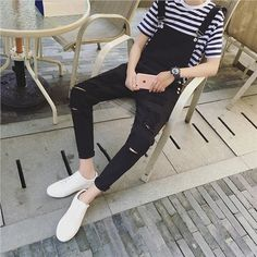 Cheap black mens jumpsuit, Buy Quality mens jumpsuit directly from China jumpsuit men Suppliers: 2017 Male Suspenders New Brand Casual Denim Overalls black White Ripped Jeans Men's Bib Jeans Boyfriend Jeans Jumpsuits 021405 Lässigen Jeans, White Ripped Jeans, Outfit Jeans, Casual Jeans, Casual Outfits, Fashion Outfits, Mens Fashion, Men Casual, Casual Styles