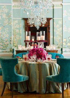 de Gournay, Murano chandy, turquoise velvet, + pink blooms