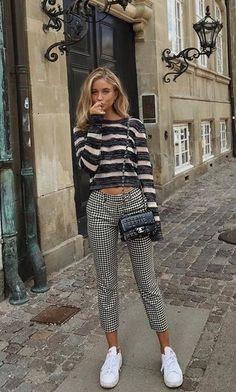 mixed prints. check + stripes. street style.