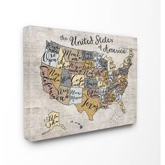 Rustic US Map Wood Wall Art carved united states map state