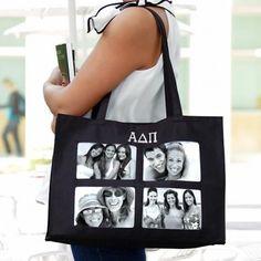 Greek Black Photo Tote Bag #greekphotobag #greektotebag #greektote #sorority #sororitytotebag #sororityphotobag #sororitygifts