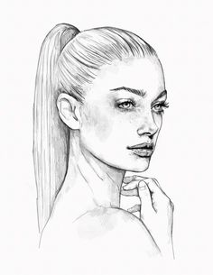 ▷ 1001 + ideas and inspirations for pictures to draw - Zeichnungen - pictures-to-draw-how-to-draw-woman-face-woman-ponytail-hairstyle-realistic-drawing - Pencil Art Drawings, Realistic Drawings, Art Drawings Sketches, Easy Drawings, Disney Drawings, Drawings Of Faces, Drawing Disney, Dress Sketches, Sketch Art