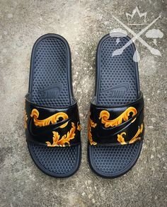 first rate 07e76 0fc8f Nike Custom Black Supreme Benassi Swoosh Slide Sandals Flip flops Men s