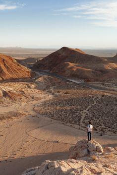 hiking in Mojave Desert.
