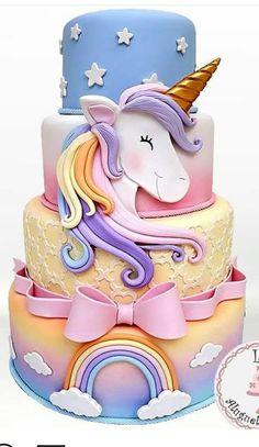 17 Ideas Birthday Cake Unicorn Fondant For 2019 Pretty Cakes, Cute Cakes, Bolo Tumblr, Unicorn Foods, Unicorn Cakes, Unicorn Themed Cake, Unicorn Head, Unicorn Cake Topper, Baby Unicorn
