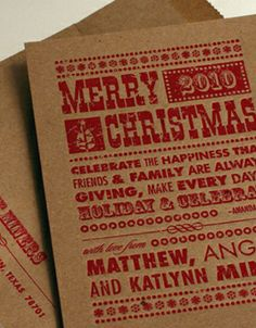 Holiday Woodblock Letterpress Holiday Card