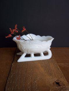 Vintage Westmoreland Milk Glass Sleigh by SPARKLESandSASS on Etsy, $23.99