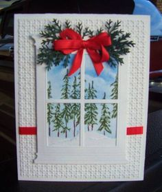 Another Window by jandjccc - Cards and Paper Crafts at Splitcoaststampers Christmas Paper Crafts, Homemade Christmas Cards, Homemade Cards, Christmas Cards 2018, Xmas Cards, Holiday Cards, Craftwork Cards, Window Cards, Unique Cards