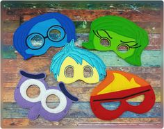 Feelings Mask Set Inspired By Inside Out - Emotions Masks - Pretend Play - Party Favors - Dress Up - Inside Out by 6gEmbroidery on Etsy https://www.etsy.com/listing/239106698/feelings-mask-set-inspired-by-inside-out