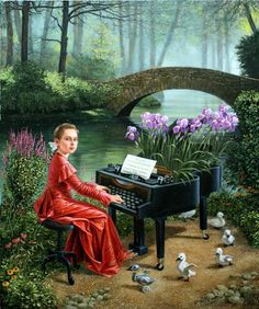 Dance of Little Swans III by Michael Cheval