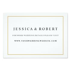 Formal Wedding Invitation RSVP Elegant Gold Border Wedding Website Insert Card