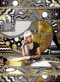 Hi Fructose Magazine: Born in London, Lina Iris Viktor merges hip hop and high fashion with Art Nouveau patterns to create bold artworks that scream contemporary pop expression. Many of her designs contrast soft swirls and sharp peaks, referencing. African American Art, African Art, Gustav Klimt, Art Nouveau Pattern, New Africa, V Magazine, Afro Art, Black Artists, Black Women Art