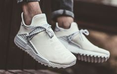 Restock info for the Pharrell x Adidas Hu NMD Trail 'Blank Canvas' sneakers. Adidas Fashion, Fashion Shoes, Mens Fashion, Hypebeast, Adidas Nmd, Adidas Sneakers, Jordan Swag, Blank Canvas, Nike
