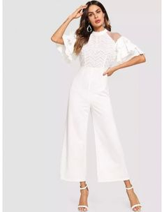 SHEIN offers Mock Neck Mesh Insert Textured Faux Fur Bodice Jumpsuit & more to fit your fashionable needs. Fur Fashion, Fashion News, Jumpsuit Outfit, Jumpsuits For Women, Mock Neck, Types Of Sleeves, Faux Fur, Bodice, Clothes For Women