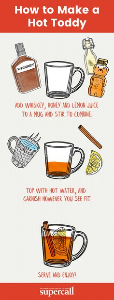 A simple mix of hot water, sweetener, spice and spirit (typically whiskey), the Hot Toddy is a classic folk remedy for the common cold. I