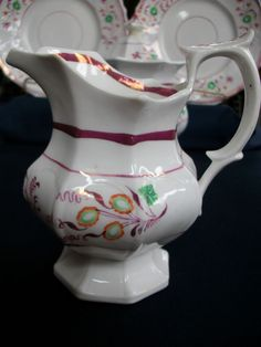 PINK LUSTRE-1840's-ENGLAND-CREAMER- MULTI SIDED GOTHIC!! FLORAL!! EXCELLENT!!