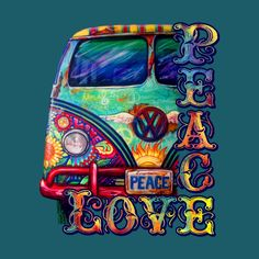Volkswagen Bus Discover Peacemobile- Peace and Love Hippie Peace, Happy Hippie, Hippie Love, Hippie Style, Boho Hippie, Bohemian Style, Peace Love Happiness, Peace And Love, Tableau Pop Art