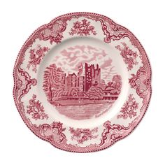 Features:  -Made of the finest earthenware.  -Durable for everyday use.  -Microwave, freezer, and dishwasher safe.  -Old Britain Castles Pink collection.  -Outer edge is not perforated.  Color: -Multi
