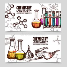 Buy Chemistry Laboratory Sketch Banners by macrovector on GraphicRiver. Two hand drawn style banners with titles of chemistry laboratory equipments and elements isolated vector illustration Chemistry Drawing, Chemistry Tattoo, Chemistry Art, Chemistry Experiments, Organic Chemistry, Chemistry Quotes, Science Classroom, Teaching Science, Science Education