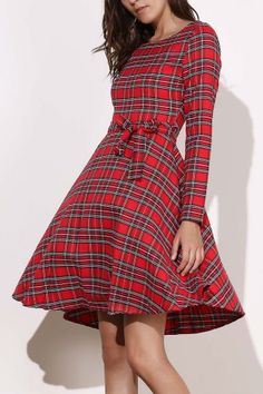 Vintage Long Sleeve Plaid Self-Tie 1940S Swing Dress - Red - S