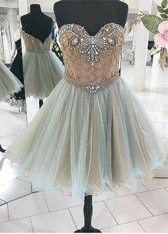 Tulle Homecoming Dress,Short Homecoming Dress,Beaded Homecoming Dresses,Prom Dress,Prom