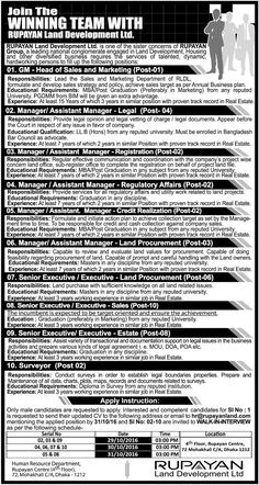 10 Positions  Rupayan Land Development Ltd Job Circular