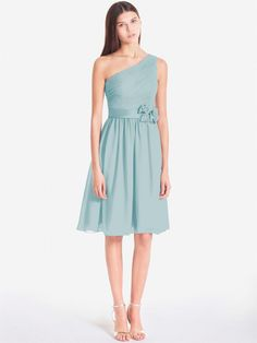 Pin to Win a Wedding Gown or 5 Bridesmaid Dresses! Simply pin your favorite dresses on www.forherandforhim.com to join the contest! | One Shoulder Chiffon Dress $114.99