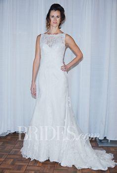 "Brides.com: Rosa Clará - Fall 2014. ""Mosaico"" sleeveless lace A-line wedding dress with illusion bateau neckline over a sweetheart bodice, Rosa Clará"