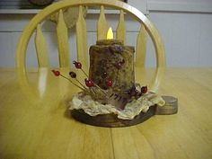 Heat Gun Textured and grunged Candle with tealight.On habd cut paddle.