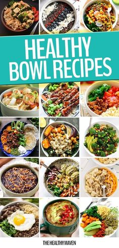 There's no denying that meals just taste better in a bowl! Keep things nutritious and delicious with these 20 Healthy BOWL Recipes for breakfast, lunch and dinner! Raw Food Recipes, Healthy Dinner Recipes, Healthy Snacks, Cooking Recipes, Water Recipes, Delicious Recipes, Healthy Cooking, Healthy Eating, The Healthy Maven