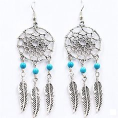Born Pretty Dreamcatcher Earrings Alloy Feather Tassel Earrings Mini Turquoise Earrings >>> You can find more details by visiting the image link.