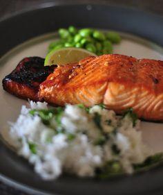 glazed salmon with cilantro lime jasmine rice