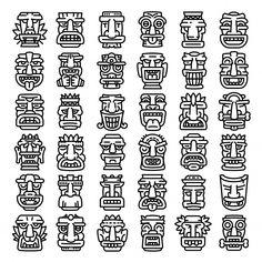 Outline set of tiki idols icons for web design isolated on white background , Tiki Maske, Aztec Symbols, Tiki Statues, Graffiti Tattoo, Tiki Totem, Tiki Art, Tribal Patterns, Tribal Art, Pattern Art