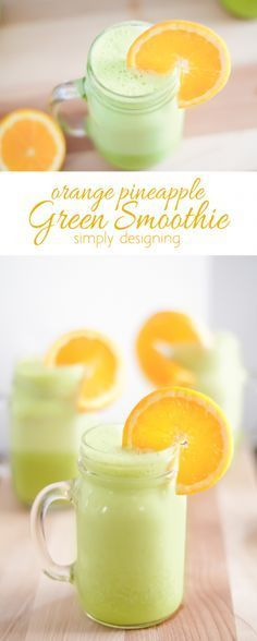 Orange Pineapple Green Smoothie Recipe - this refreshing and healthy smoothie re. CLICK Image for full details Orange Pineapple Green Smoothie Recipe - this refreshing and healthy smoothie recipe is delicious S. Green Smoothie Recipes, Yummy Smoothies, Breakfast Smoothies, Yummy Drinks, Healthy Drinks, Healthy Food, Drink Recipes, Yogurt Smoothies, Healthy Eating