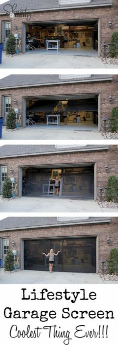 out my new Garage Screen - So AWESOME! LOVE this garage screen door! Pretty and affordable too!LOVE this garage screen door! Pretty and affordable too! Design Garage, House Design, Garage House, Garage Doors, Garage Exterior, Garage Shop, Home Renovation, Bathroom Renovations, Casas Containers