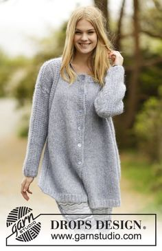 """Warm, oversize jacket with false raglan, vent and textured pattern in """"Air"""". #knitting by #DROPSDesign"""