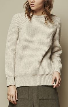 ACHRO CHUNKY CREW NECK SWEATER OATMEAL | PIPE AND ROW |