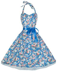 LINDY BOP 'BONNIE' VINTAGE 1950'S HALTER NECK FLORAL SPRING GARDEN SWING DRESS (M, Blue Floral)