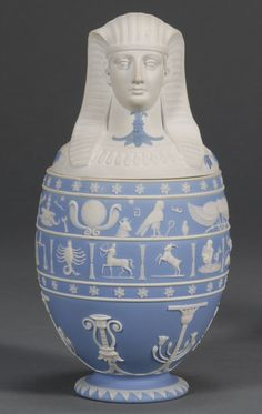 Wedgwood Light Blue Jasper Dip Canopic Jar and Cover, England, early century, applied white relief bands of hieroglyphs and zodiac symbols above Egyptian motifs. Decoration, Art Decor, Wedgwood Pottery, Canopic Jars, Objet D'art, Vases Decor, Archaeology, Creations, Blue And White