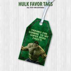 Hulk Favor Tags by DigitalDesignChile on Etsy