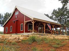 A 'Barn Red' Ponderosa Country Barn Home. We love barn home living! Sand Creek Post & Beam #barnhome #barn