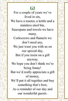 If you don't know how to ask for money instead of a gift, here's a quirky poem to help!