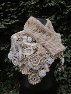Ivory Beige Crochet Shawl Freeform Crochet Irish by MARTINELI, $160.00