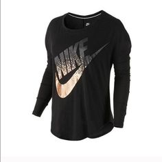 New with Tags! Nike Gold Foil Logo Shirt New with tags! Nike Gold Foil Black Long sleeve Shirt in size Large. Nike Tops Tees - Long Sleeve