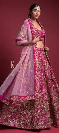 Rani Pink Lehenga In Raw Silk With Embroidered Floral Heritage Pattern Online - Kalki Fashion Pink Lehenga, Lehenga Choli, Saree, Rajasthani Dress, Wedding Function, Indian Designer Wear, Color Combinations, Reception, Outfit Ideas